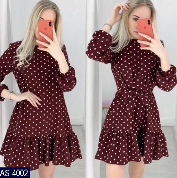 Женское легкое весенне-осеннее мини платье в горошек,рукав три четверти (versace) 3 цвета (батал)