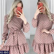 Женское легкое весенне-осеннее мини платье в горошек,рукав три четверти (versace) 3 цвета
