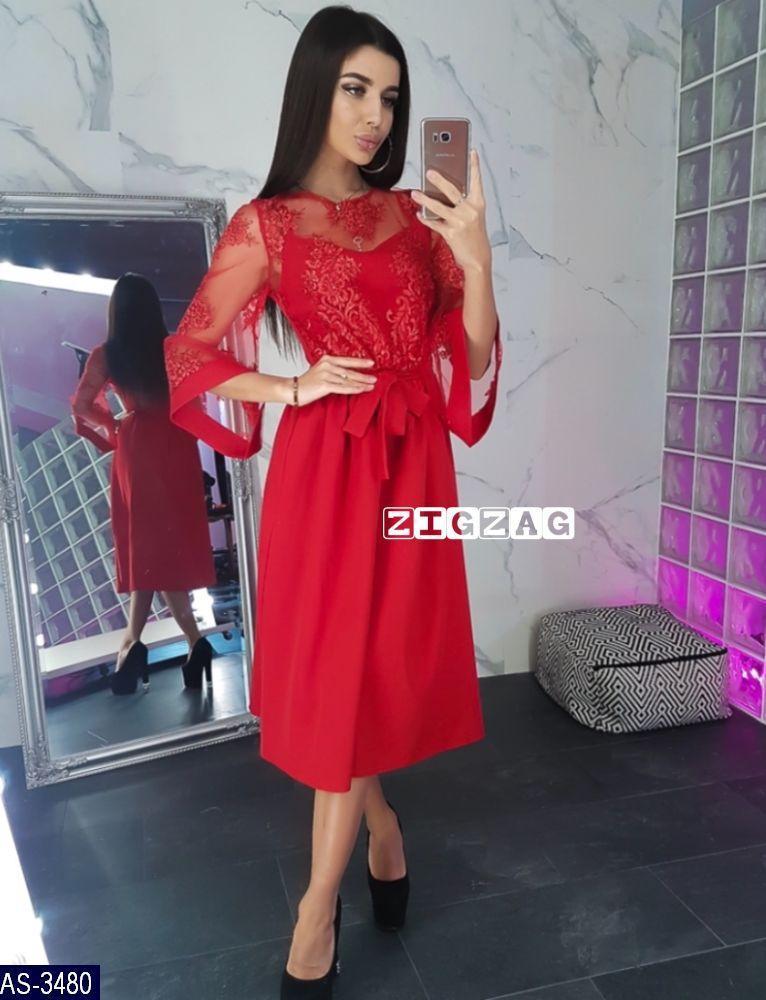 6bfd0f25d32 ... Женское вечернее красивое миди платье с рукавом три четверти (креп  костюмка + сетка с вышивкой