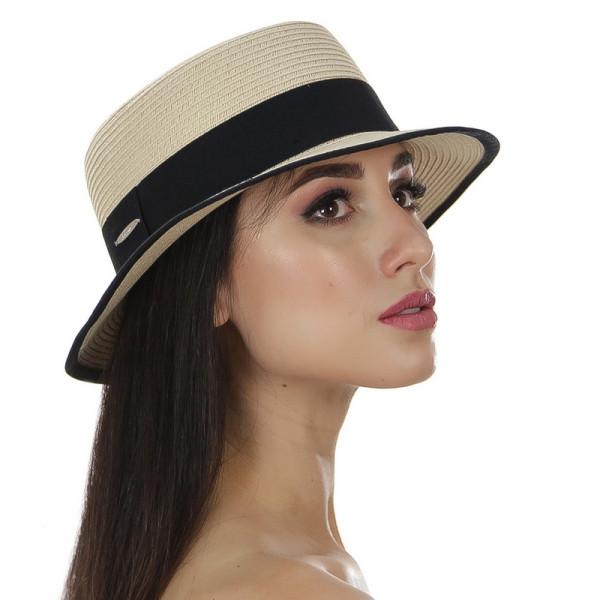 Женская летняя шляпа с  полями шириной 4,5 см цвет бежевый с черным