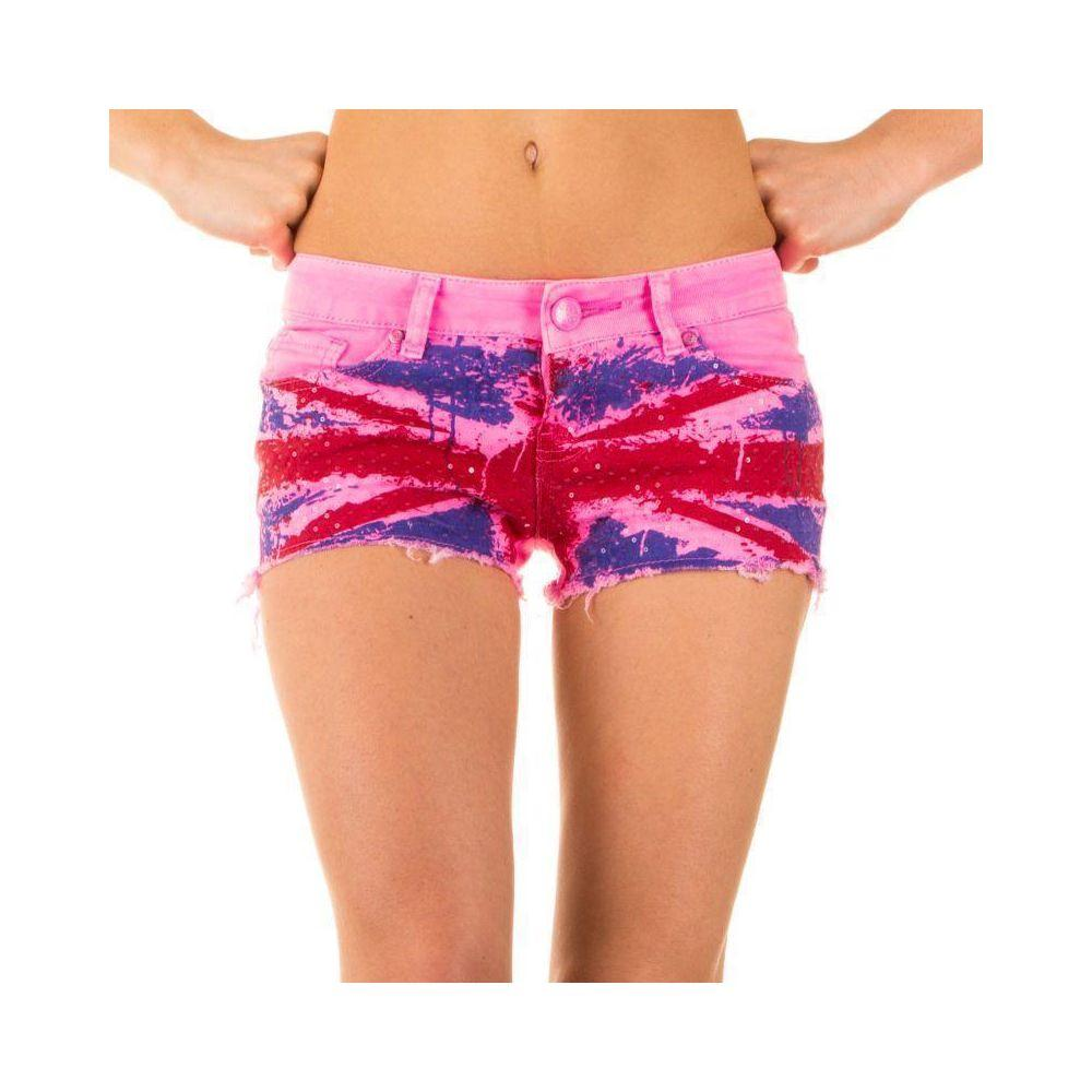 Короткие джинсовые шорты с английским флагом от Simply Chic (США) Фиолетовый
