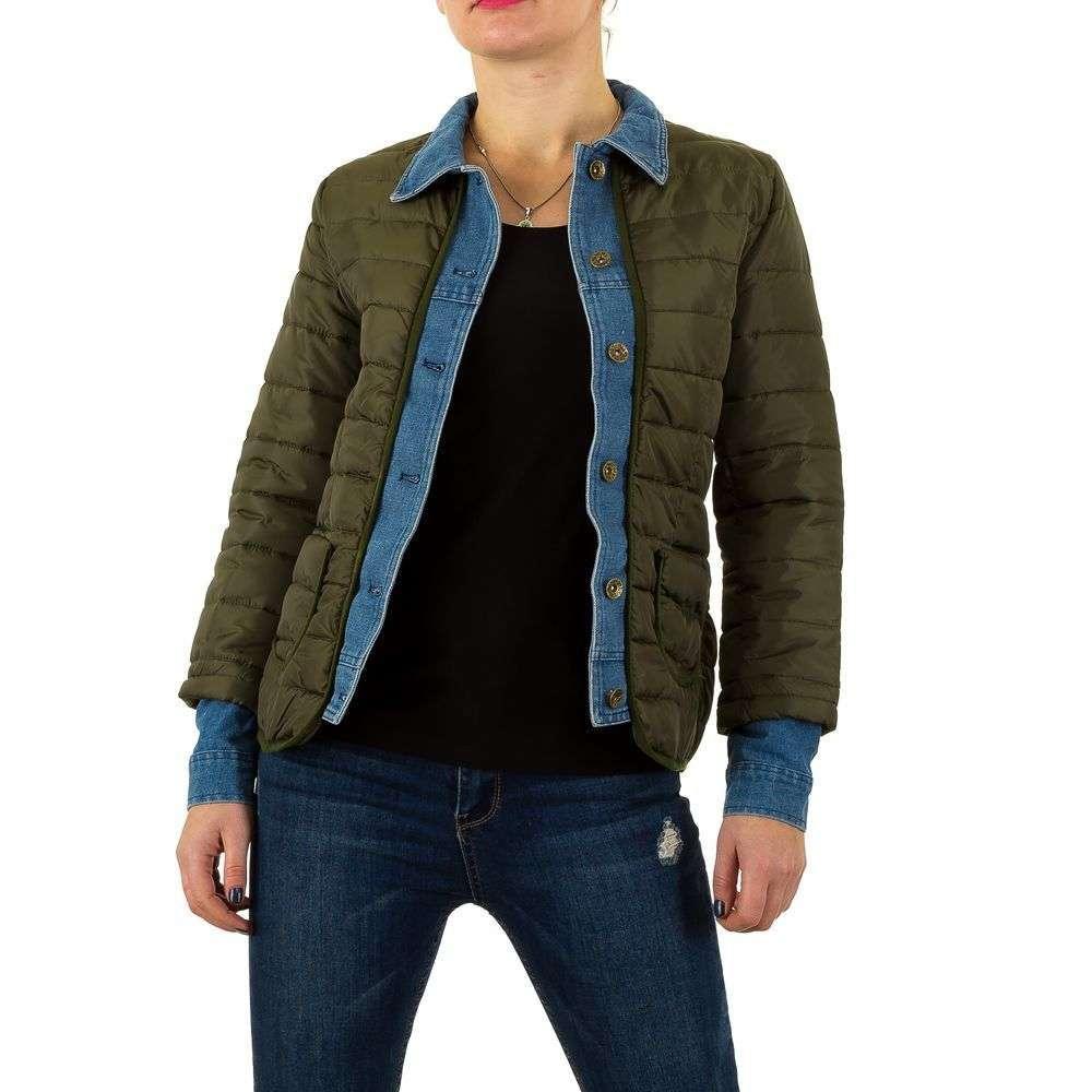Стеганая женская куртка с джинсовыми вставками (Европа), Хаки