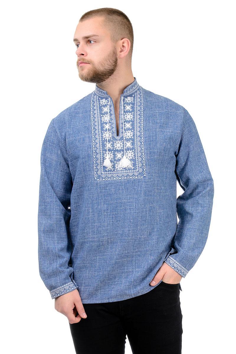 Сорочка вышиванка мужская из льна длинный рукав (лен габардин) современная цвет джинс