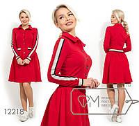 Платье из двунитки стояче-отложным воротником застежкой по лицевой стороне контрастной резинкой, 3 цвета