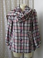 Пальто короткое клетчатое с шарфом легкое весеннее неутепленное бренд Atmosphere р.42