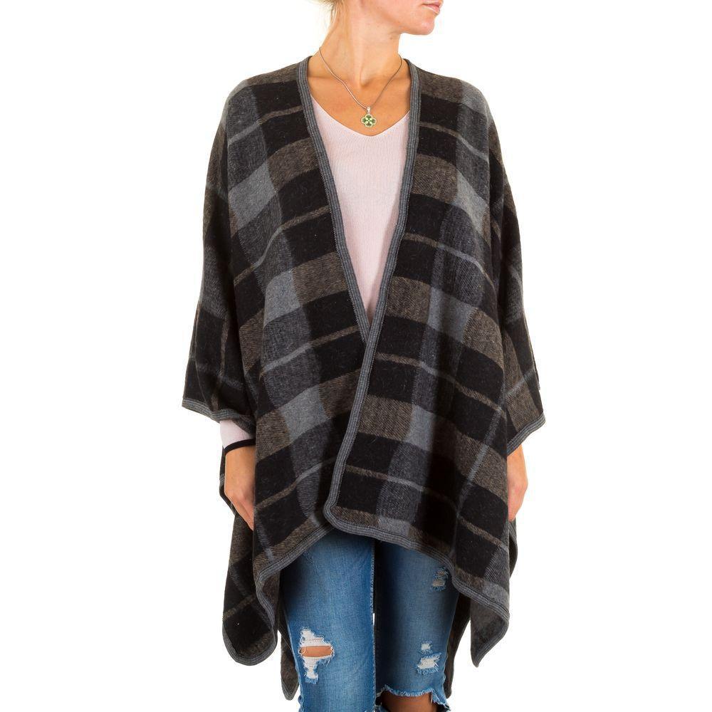 Женское клетчатое пончо Best Fashion (Франция), Черный/Серый