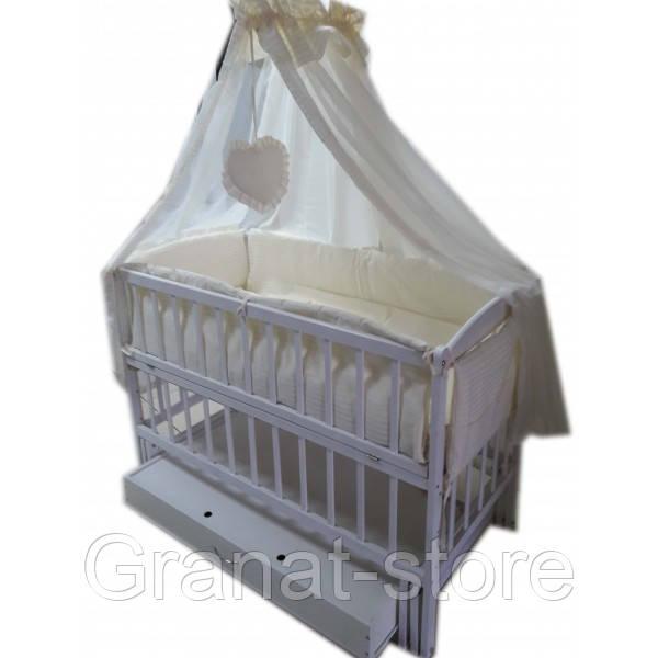 """Акция! Кроватка маятник """"Малыш Люкс"""" с ящиком белая матрас кокос постельный набор 8 эл."""