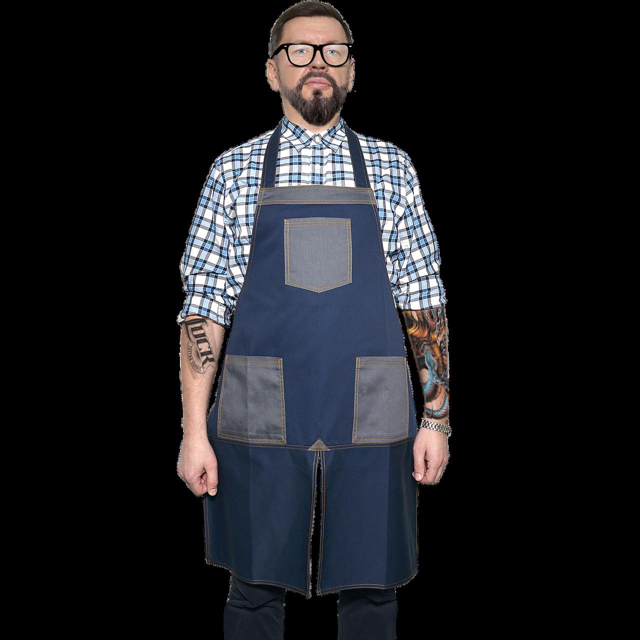 "Фартук для бариста ""Бонжур""с разрезом, синий с серыми карманами"