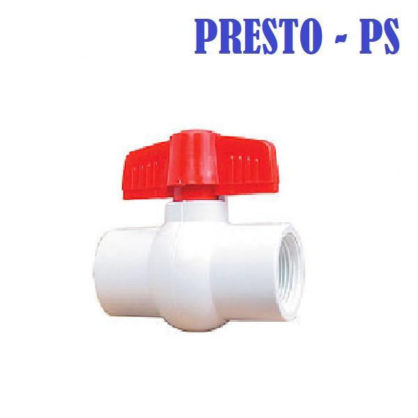 "Кран 1"" шаровый , белый пластик (резьба внутренняя) Presto - Ps"