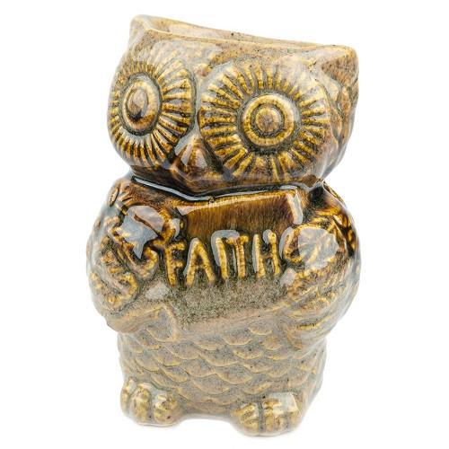 Аромалампа Сова, овальная чаша, керамика, коричневый