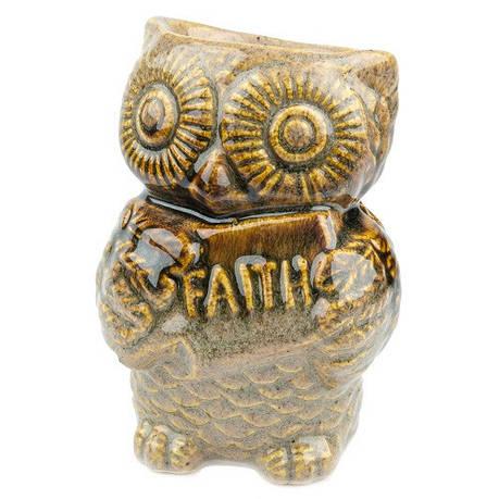 Аромалампа Сова, овальная чаша, керамика, коричневый, фото 2