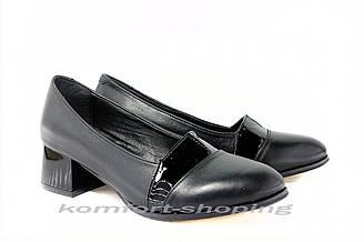 Туфли  женские  кожаные, черные  V 1229