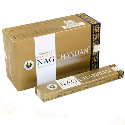 Натуральные, пыльцовые Сандаловые Арома палочки Golden Nag Chandan Vijayshree Fragrance, фото 2