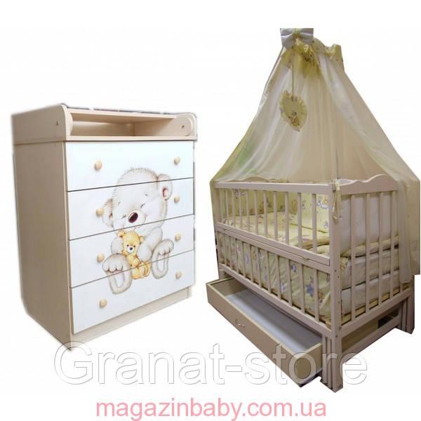 """Акция! Комплект """"Малыш с комодом фото ваниль"""" : Комод фото, кроватка маятник, матрас кокос, постельный набор"""