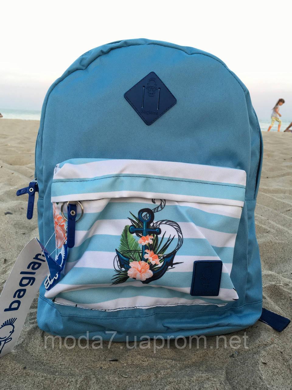 Женский рюкзак Bagland голубой с якорем