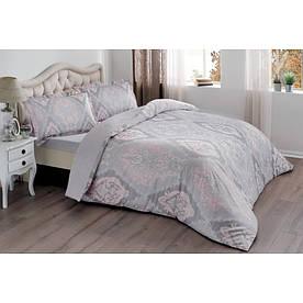 Постельное белье Tac сатин - Vales pembe v03 розовый евро