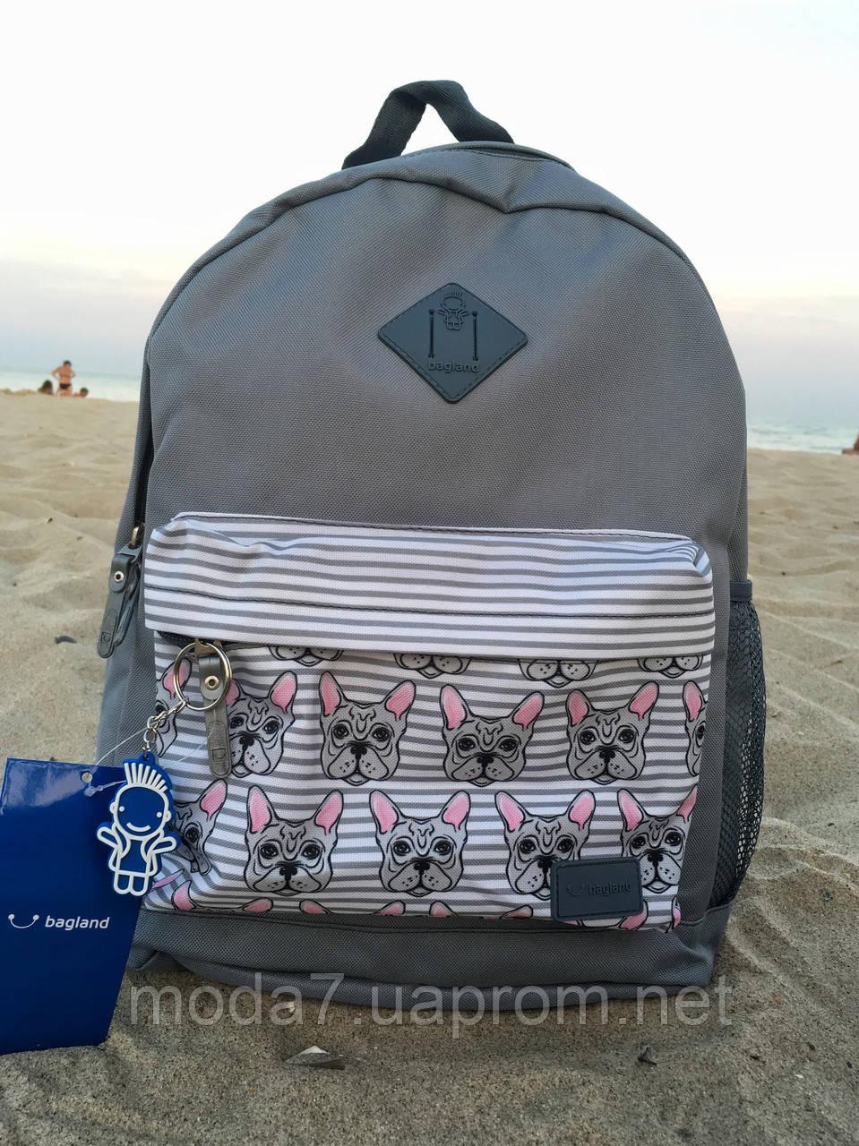 Женский рюкзак Bagland серый с собачкой