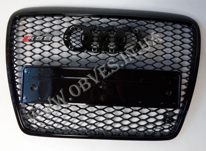 Решетка радиатора RS6 на Audi A6 2005-2012 (черная с черной окантовкой)