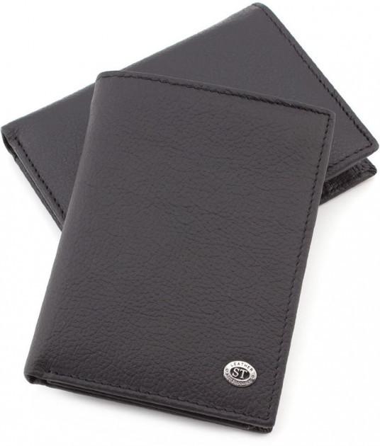 Классический мужской портмоне из натуральной кожи черного цвета Sergio Torretti (ST Leather) ST2 Black