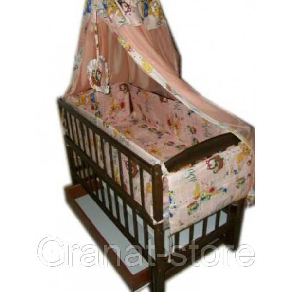 """Акция! Кроватка маятник """"Малыш Люкс"""" с ящиком, матрас кокос, постельный набор 8 эл."""