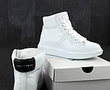 Женские кроссовки Alexander McQueen Hi leather black/white высокие. Живое фото (Реплика ААА+), фото 4