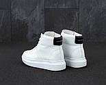 Женские кроссовки Alexander McQueen Hi leather black/white высокие. Живое фото (Реплика ААА+), фото 3