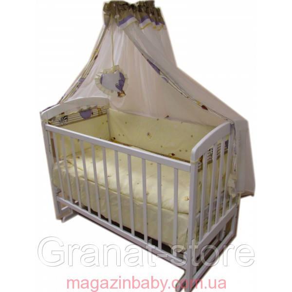 Детская кроватка маятник Лама. Белая