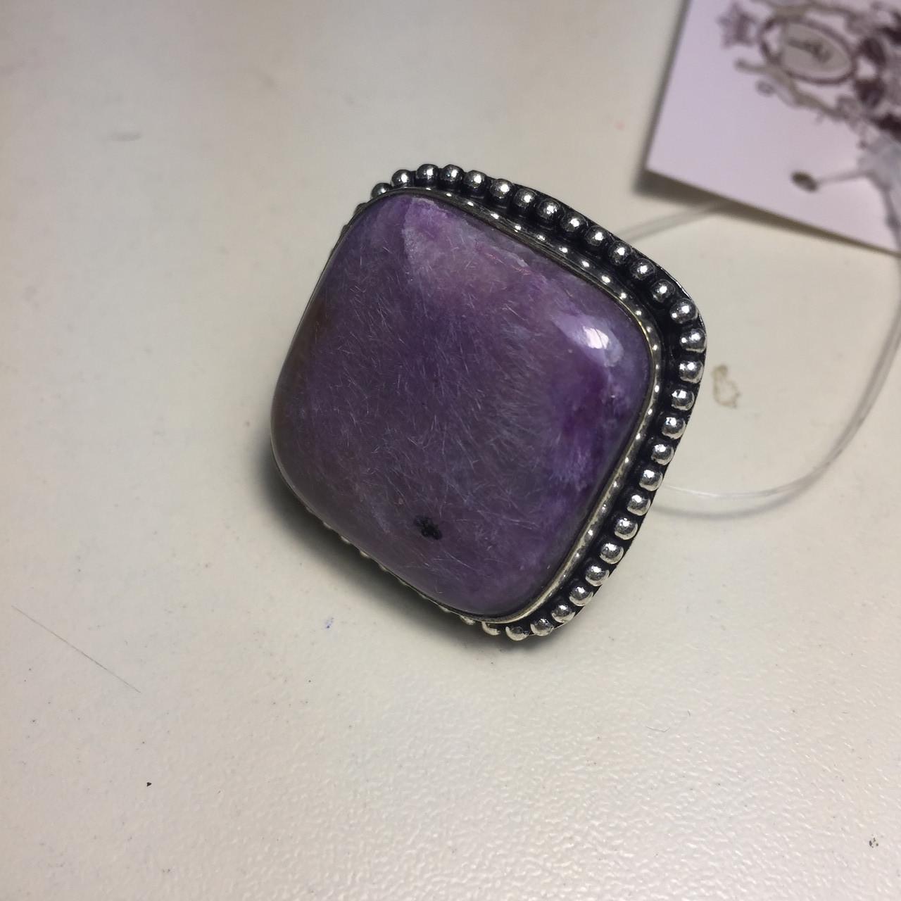 Чароит кольцо квадратное с чароитом 17-17,3 размер. Кольцо чароит Индия