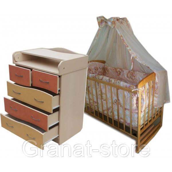 """Комплект """"Соня 2"""" : Комод кроватка матрас кокос постельный набор. Светлое дерево"""