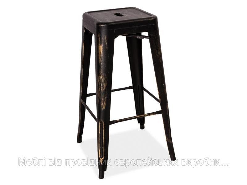 Барный стул Long Signal черный потертый