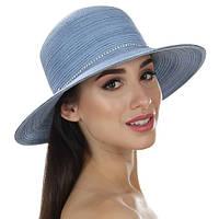 Женская  летняя шляпа украшена шнурком с камнями цвет джинс