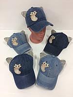 Детские джинсовые кепки с ушками для девочек оптом, р.52 Китай (Capri Corn)
