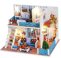 Кукольный домик, миниатюра, двухэтажный, DIY набор для сборки, ночник