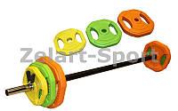 Штанга для фитнеса FI-4247 20кг (гриф 1,3м, d25мм, обрезин.блины 2*(1,25+2,5+5кг))