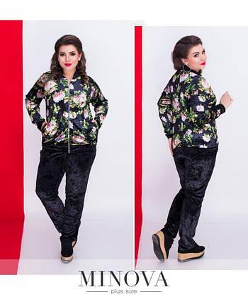 """Стильный женский костюм в спортивном стиле блуза+брюки """"Бархатная ткань"""" 48 размер батал, фото 2"""