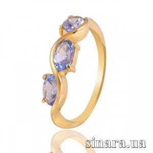 Кольцо из желтого золота с голубыми камнями 3838
