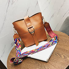 Жіноча сумка червона з кольоровим плечовим ремінцем набір 2в1 екошкіра, фото 3