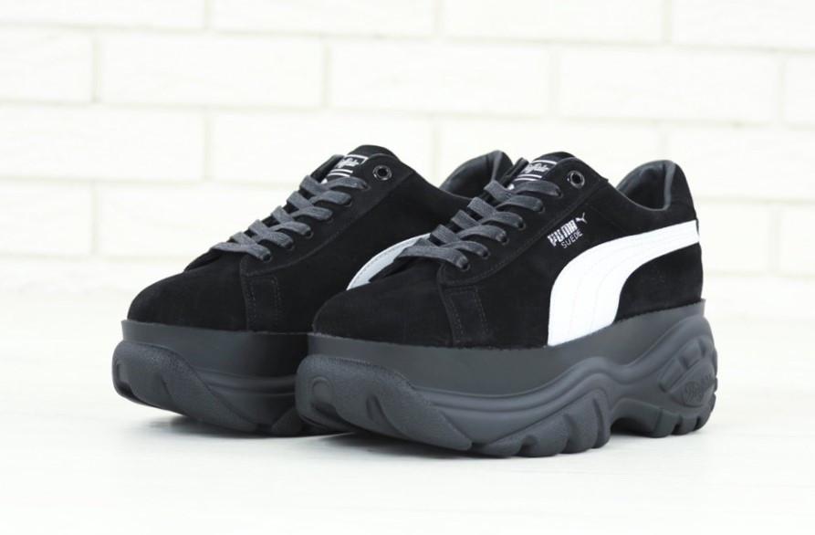 def0c46e197b04 Кроссовки женские на платформе модные черные замшевые Puma Buffalo Пума  Буффало Новинка 2019 - Магазин обуви
