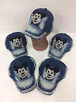 Детские джинсовые кепки Mickey Mouse для девочек оптом, р.50 Китай (Capri Corn), фото 1