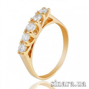 Кольцо из желтого золота с камнями 5760