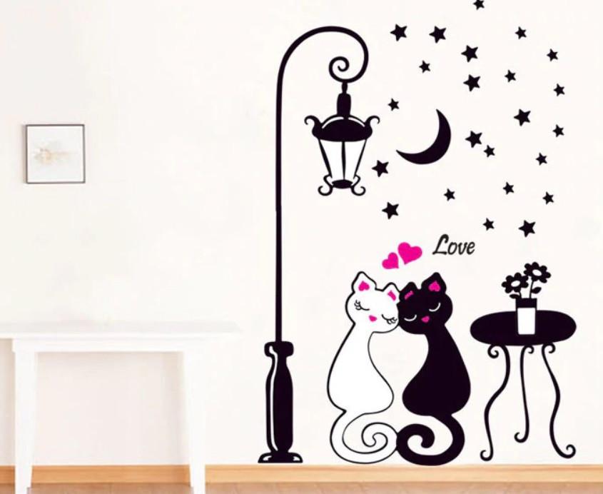 """Наклейки на стену """"Влюбленные кошечки"""" черная"""