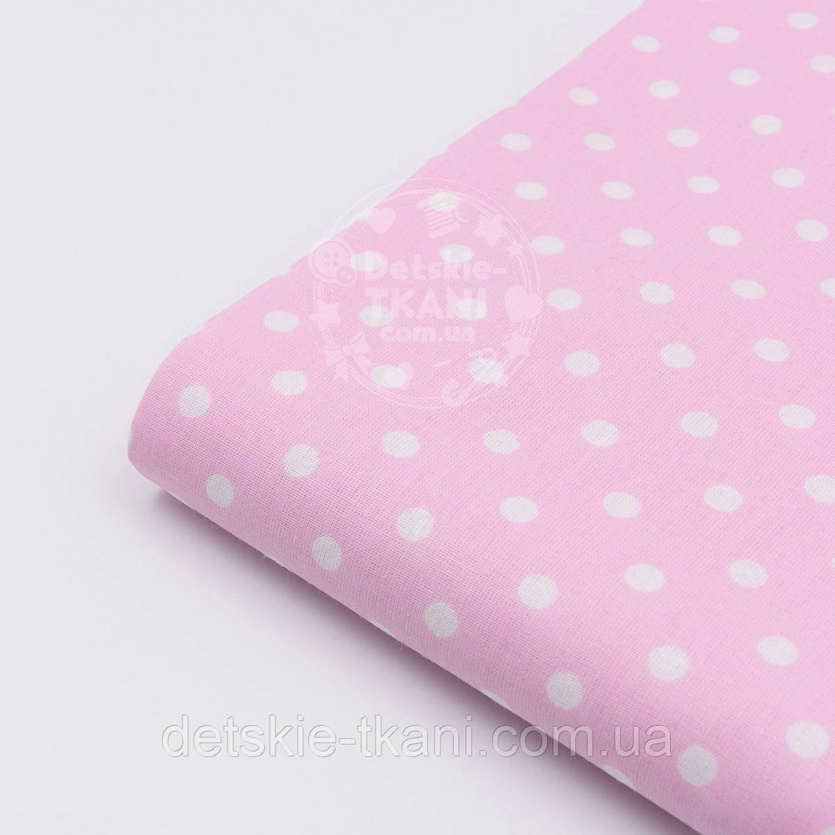 Лоскут ткани с  белым горошком 7 мм на розовом фоне № 1183