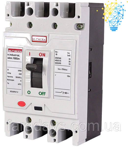 Шафовий автоматичний вимикач 3р, 100А (e.industrial.ukm.100Sm.100)