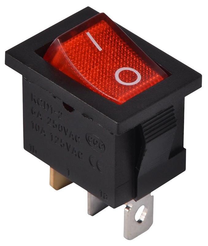 KCD1-2-101N  R/B  220V Переключатель 1 клав. красный с подсветкой