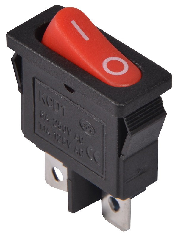KCD1-12-101 R/B  Переключатель 1 клав. (красная овальная клавиша)
