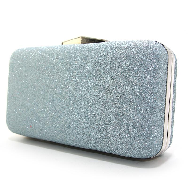 cd44ecc806cd Клатч-бокс мини женский серебристо голубой блестки Rose Heart 09829 -  Интернет-магазин