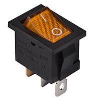 KCD1-2-101N Y/B  220V Переключатель 1 клав. желтый с подсветкой