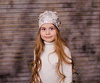 """Пудровая деми шапка с серебристым принтом, кристаллами, жемчугом """"Мия"""", 48, 50, 52, 54, 56"""