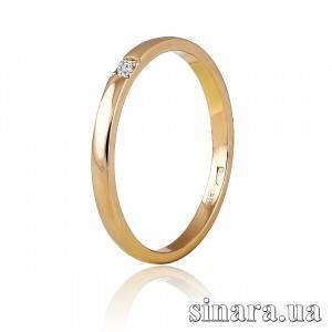 Обручальное кольцо из красного золота с бриллиантом 30789