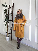 Пальто Nicole  цвет горчица с мехом чернобурки, фото 1